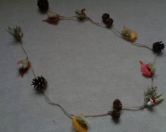 Thanksgiving table decor / garland rustic pine cone autumn leave garland wedding table garland natural handmade garland free shipping