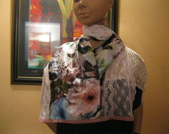 """scarf/shawl is hand - lace and fabric - """"Christopher"""""""