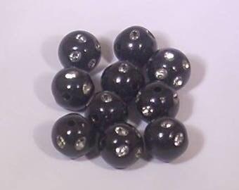 10 Pearl acrylic rhinestone round noire10mm