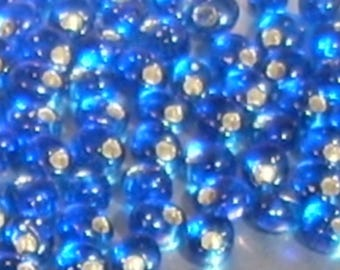 8 gr beads capri blue 4mm Japanese Magatama