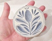 SALE Pretty 1970 Vintage THICK POTTERY Blue Carved Thistle Flower Wall Plaque Picture Hanging Handmade Rare Round w blue leaves Country Home