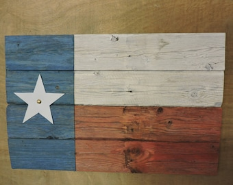 Texas Flag (#6) - recycled fence wood with distressed paint; rustic