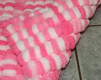 blanket double tassels - special cozy baby - pink and white - handmade
