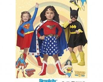 GIRLS SUPER HERO, Wonder Woman, Supergirl, Batgirl Costumes Pattern by Simplicity 1035 Child's Size 3-8