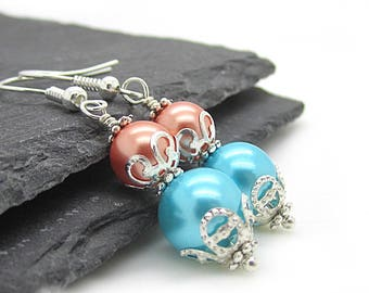 Peach Aqua Pearl Earrings, Coral Bridesmaid Jewellery, Aqua Bridal Sets, Peach Aqua Wedding, Pearl Drop Earrings, Bridesmaid Gifts