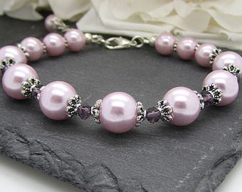 Pink Bridesmaid Bracelet, Pink Pearl and Crystal Wedding Sets, Rose and Purple Bridesmaid Jewellery, Bridal Party Gifts, Ballet Pink Wedding