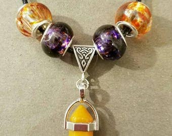 Crystal Dagger Pendant, Glass Beads, 18 in., FREE SHIPPING