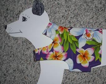 "Summer Dog Shirt, x-small (7-11 lb) Purple Hawaiian Tiki Party Dog Shirt. All cotton & reversible 15.5"" girth"