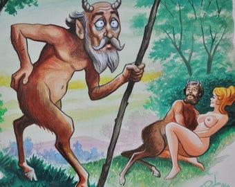 Satyr Nude Magazine Illustration Oil Painting - Vintage Mid Century Modern - Illustator Lloyd Rognan - Listed Artist - Risque, Pin-Up Art