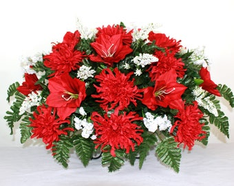 Beautiful XL Red Lilies with Spider Mums Tombstone Headstone Saddle