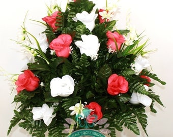 Alabama Crimson Tide Fan Vase Cemetery Flower Arrangement