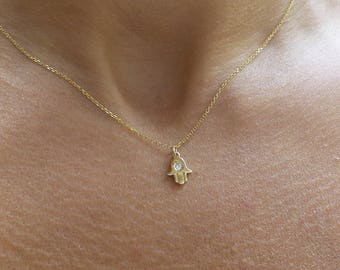 Hamsa Necklace/ 14 Gold Hamsa Necklace with Diamond/ Gold Hamsa Necklace/ Tiny Hamsa Necklace/ Small Hamsa Necklace/ Hamsa Hand/DiamondHamsa