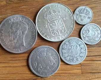 Set of six vintage Swedish coins, 1876-1959