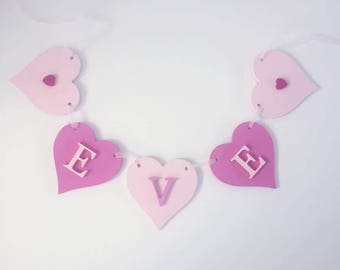 Wooden Heart Bunting/New baby gift/baby nursery/personalised christening gift
