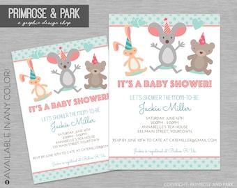 Animal Baby Shower Invitation // Gender Neutral Invitation // Printable Digital File