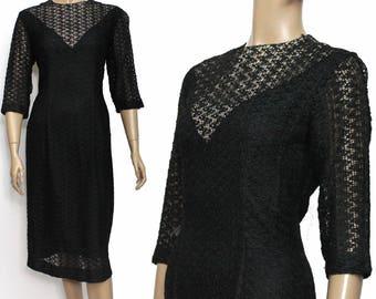 Vintage// 1950s Dress//  Black Corded// Ribbon Weave//  Jackie Kennedy //Cocktail Dress // V Neck// Fully Lined// 50s Dress