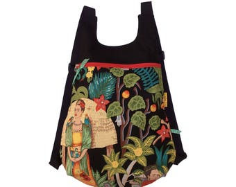 "Fabric backpack, Frida Kahlo backpack, ""Frida's Garden"" backpack, Frida Backpack"