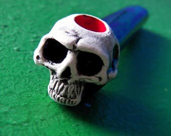 Skull gothic Tobacco pipe punk handmade