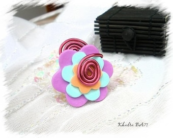 Aluminum and polymer clay fimo Khadra BA71 wire flower ring