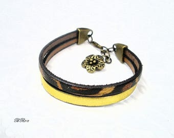 Gold leather and leopard flower bronze BR812