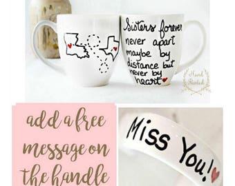 Sisters Mug- Sisters Gift - Sister Coffee Mug - Gifts for Sister -Hand Painted Mugs- Sister Birthday Gift - Sister Present