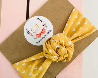 Vaelentines Headwrap Mustard yellow with hearts one size