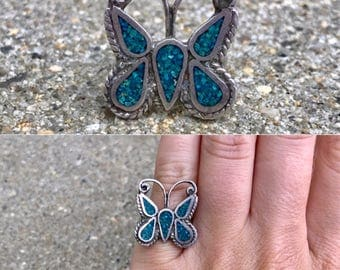 sterling silver crushed turquoise vintage southwestern butterfly insect boho ring size 5.25