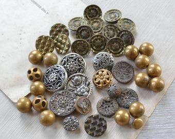 Antique Metal Button Lot - Victorian Twinkle Ornate Mirror Brass Ball Picture Sewing Collection 124