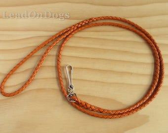 Kangaroo Leather Small Dog Lead Braided in Orange- LeadOn Poppy