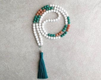 "White Mala Beads - Dolomite ""Jade"" with Russian Amazonite & Howlite - Meditation Beads For All Religions - Item # 982"