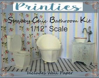 Dollhouse, 1/12 Scale,SALE, Bathroom, Bathroom Kit,  Printable, Toilet, Bath tub, Vanity, Vintage, Pattern,  Card stock, Mat board,