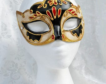 Colorful Venetian Carnival Mask, Paper Mache Gold Black Red Ivory Masquerade Mask, Women's Painted Carnival Mask