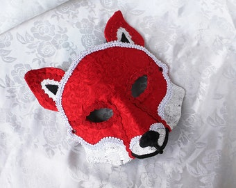 Fox Masquerade Mask, Red and White Brocade and Leather Red Fox Masquerade Ball Mask