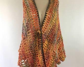 Crocheted wool shawl, wood button, earthy shawl - SUNSET