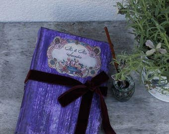 """Purple and pink country wedding guest book  Shabby vintage scrapbook  Made To Order 8.5x6"""""""