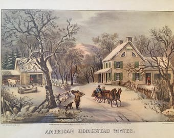 CURRIER & IVES AMERICAN Homestead Winter, Vintage Print, Framed Lithograph, Horse and Sleigh