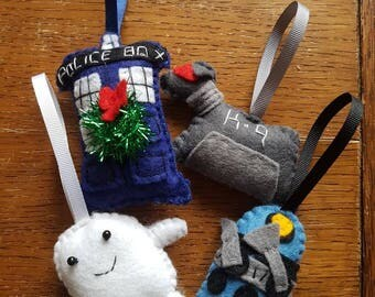 Set of four Doctor Who  Christmas decorations