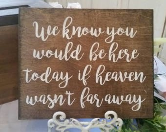 We know you would be here today if heaven wasn't so far away sign Wedding Sign - Dark Stained Wedding Sign - Rustic Wedding Decor 12x7 each