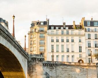 Neutral Paris Photography Print - Large Wall Art - Parisian Art Print - Paris Bedroom Decor -Pont de La Tournelle