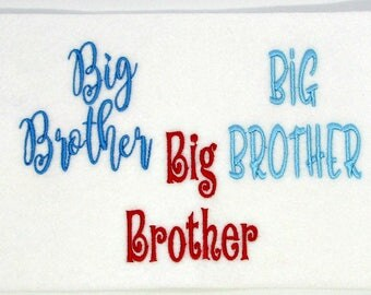 Big Brother Embroidery design, machine embroidery, sibling embroidery boy, 3 styles, 5 designs in each set, filled stitch