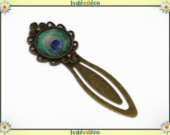 Retro blue and green Peacock feather bookmark brass and resin