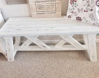 Coastal Cottage White And Navy Shabby Entryway Bench