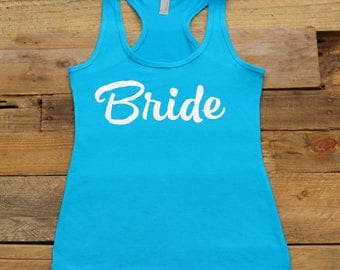 Bride Tank Tops, Bachelorette Party, Bridal Party Shirts Tees, Bridesmaid Gifts,Bridesmaid Tanks,Getting Ready, Jersey Racerback