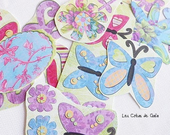 floral 20 x stickers and paper embellishments