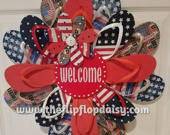 "Adorable Patriotic ""Welcome"" Flip Flop Wreath Door Wall Decor Unique Gift Beach Ocean July 4th"