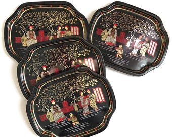 Vintage Tin Trays Hostess Set Tip or Trinket Trays Made in Hong Kong Asian Chinese Design Chinioiserie Elite Trays Asian Home Decor