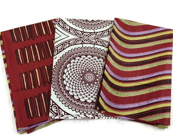 African Wax Print Fabric--FAT QUARTER BUNDLE--Maroon Assortment--Assorted Color/Assorted Patterns Prints--3-Pack Fat Quarter Bundle