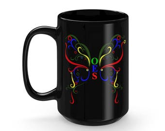 OES (Order of the Eastern Star) Butterfly Black Mug 15Oz
