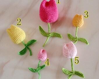 5 3D Crochet Flowers Crochet Tulips With Leave Applique YH-238