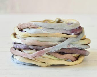 Hand dyed Silk Cord | 3 meters | grey brown beige silk string | 4mm wide | silk cords | multicolor silk cords